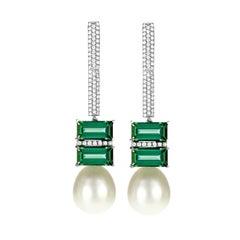 Tourmaline South Sea Pearl 18 Karat White Gold and Diamond Dangle Drop Earrings