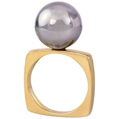 1970s Dinh Van for Cartier Yellow and White Gold Sphere Ring