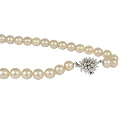 Daou Pearl Necklace with detailed Diamond Clasp in Leaf design, Handmade