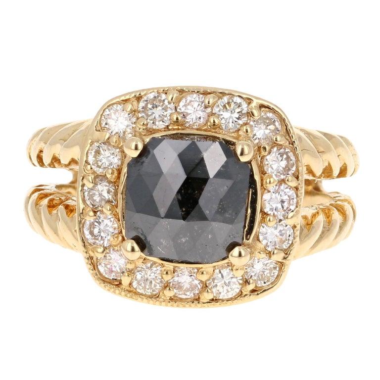 2.11 Carat Black Diamond 18 Karat Yellow Gold Ring