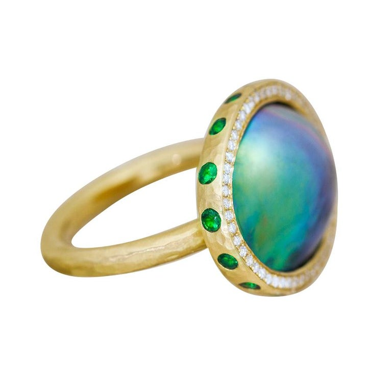 Sea of Cortez, Tsavorite and Diamond Micropavé 18 Karat Gold Ring