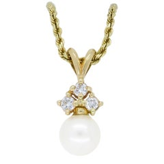 Diamond and Pearl Drop Necklace
