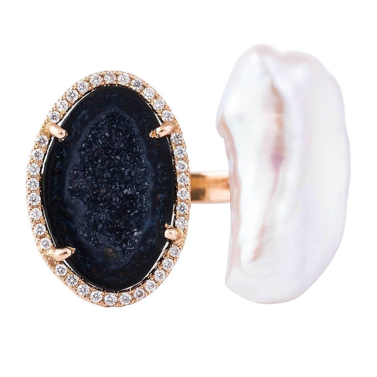 Karolin Rose Gold White Diamond Agate Pearl Cocktail Ring