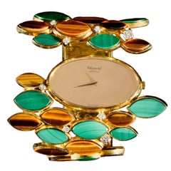 Chopard Yellow Gold Tiger Eye Malachite Wristwatch, circa 1980