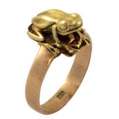 14 Karat Yellow Gold Frog Ring