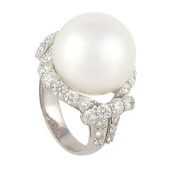 Ella Gafter South Sea Pearl Diamond Cocktail Ring