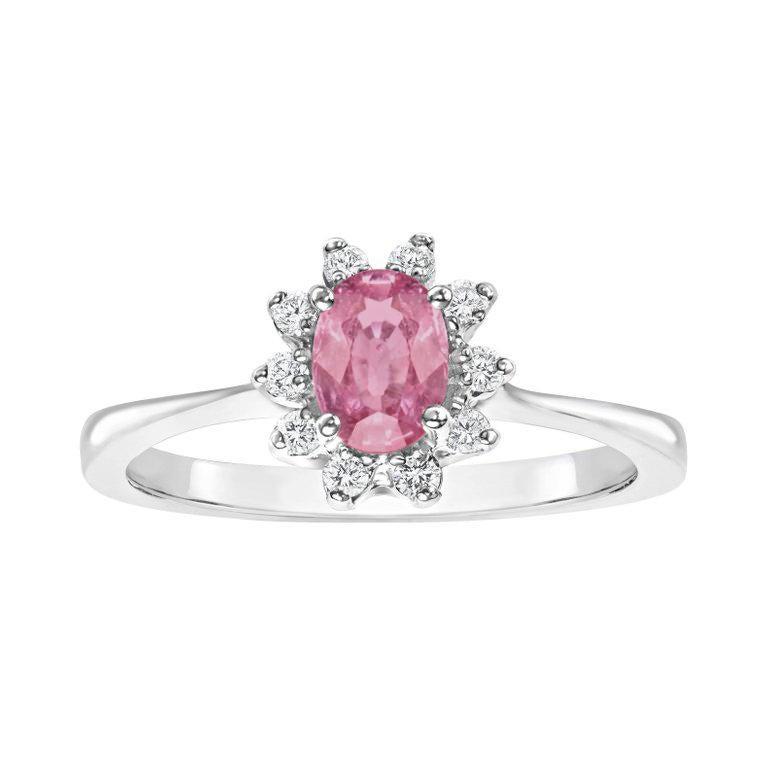 Oval Pink Sapphire Diamond Ring