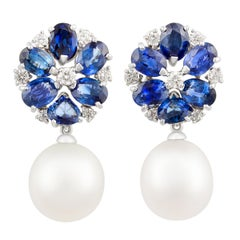Ella Gafter Blue Sapphire South Sea Pearl Earrings with Diamonds Flower Design