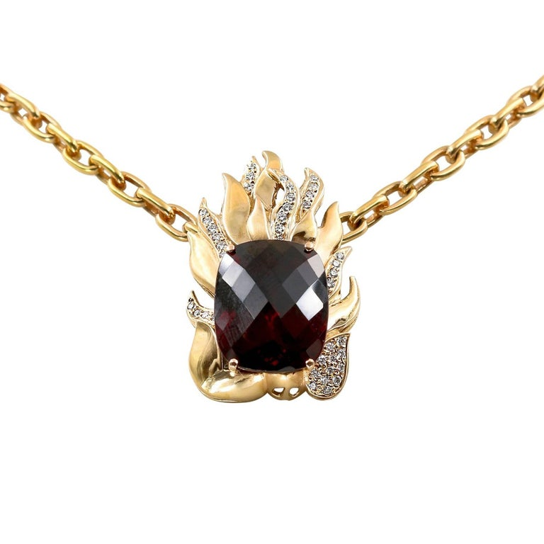 Extraordinary 21.39 Carat Natural Rhodolite and Diamond Necklace