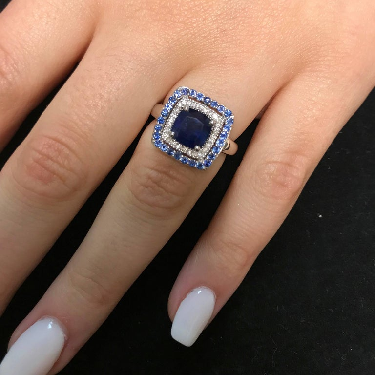 Contemporary 2.25 Carat Cushion Blue Sapphire and White Diamond Ring For Sale