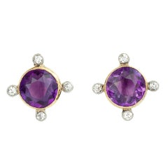 Amethyst and Diamond Edwardian Earrings