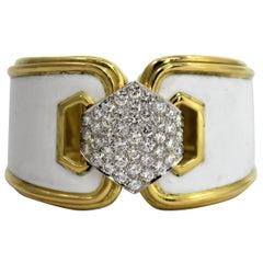 Wide David Webb White Enamel Bracelet with Pave Diamond Centrepiece