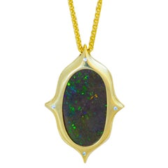 Australian Boulder Opal, Diamond and 18 Karat Gold Pendant Necklace