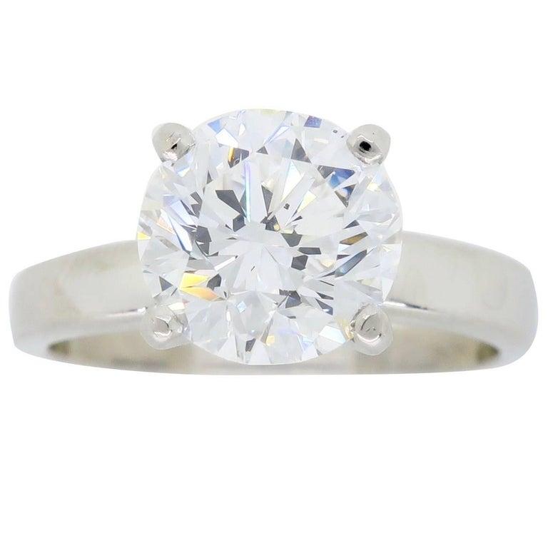 Platinum 1.61 Carat Round Diamond Solitaire Ring