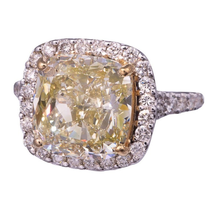 5.11 Carat Natural Fancy Yellow Cushion Cut Diamond Ring For Sale