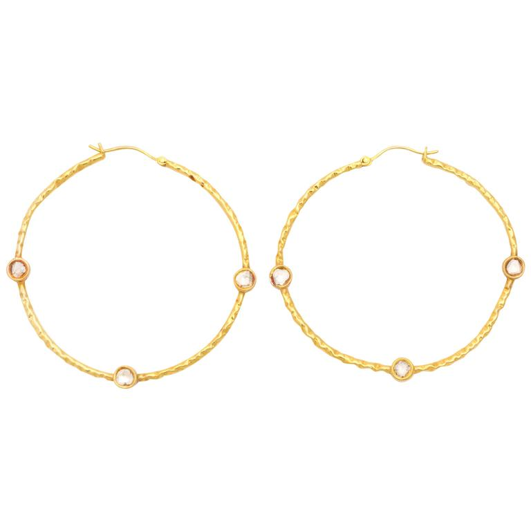 Polki Diamond gold Hoop Earrings 1