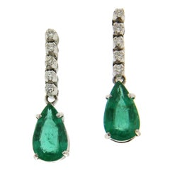 Colombian Emeralds White Gold 18 karat Drop Earrings