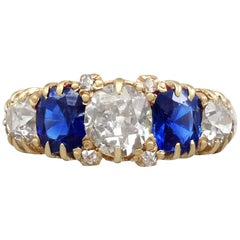 1.62 Carat Sapphire and 1.45 Carat Diamond Yellow Gold Cocktail Ring