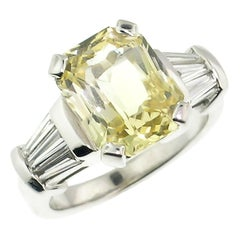 5.44 Carat Unheated Yellow Ceylon Sapphire and Diamond 18 Karat Custom Ring