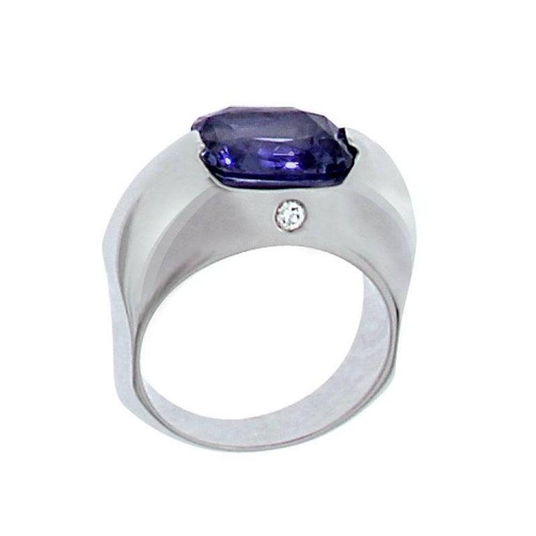 Berquin Certified 3.76 Carat Intense Blue Spinel Diamond Gold Cocktail Ring