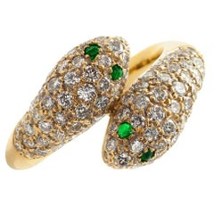 Diamond and Emerald Gold Snake Toi Et Moi Ring