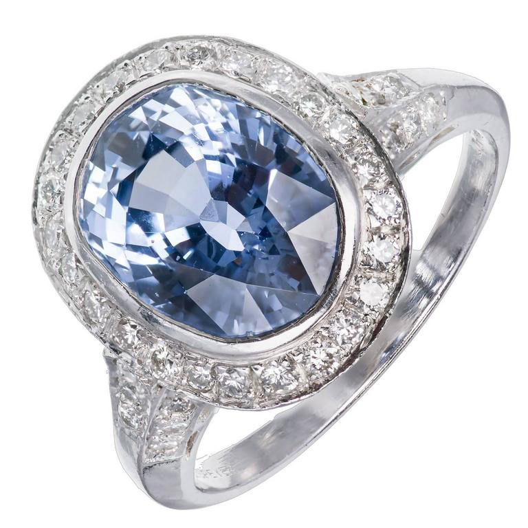 Peter Suchy Designs Oval Periwinkle Blue Sapphire Pave Diamond Platinum Ring