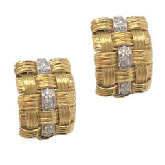 "Vintage Roberto Coin ""Appassionata"" Diamond Earrings 18 Karat Gold"