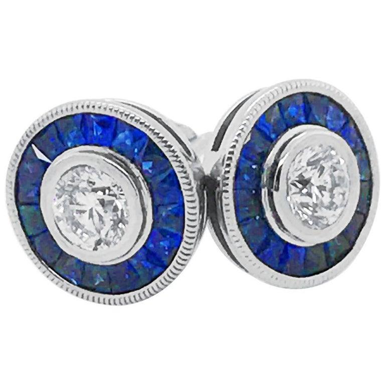 Diamond and Sapphire Stud Style Earrings 14 Karat White Gold