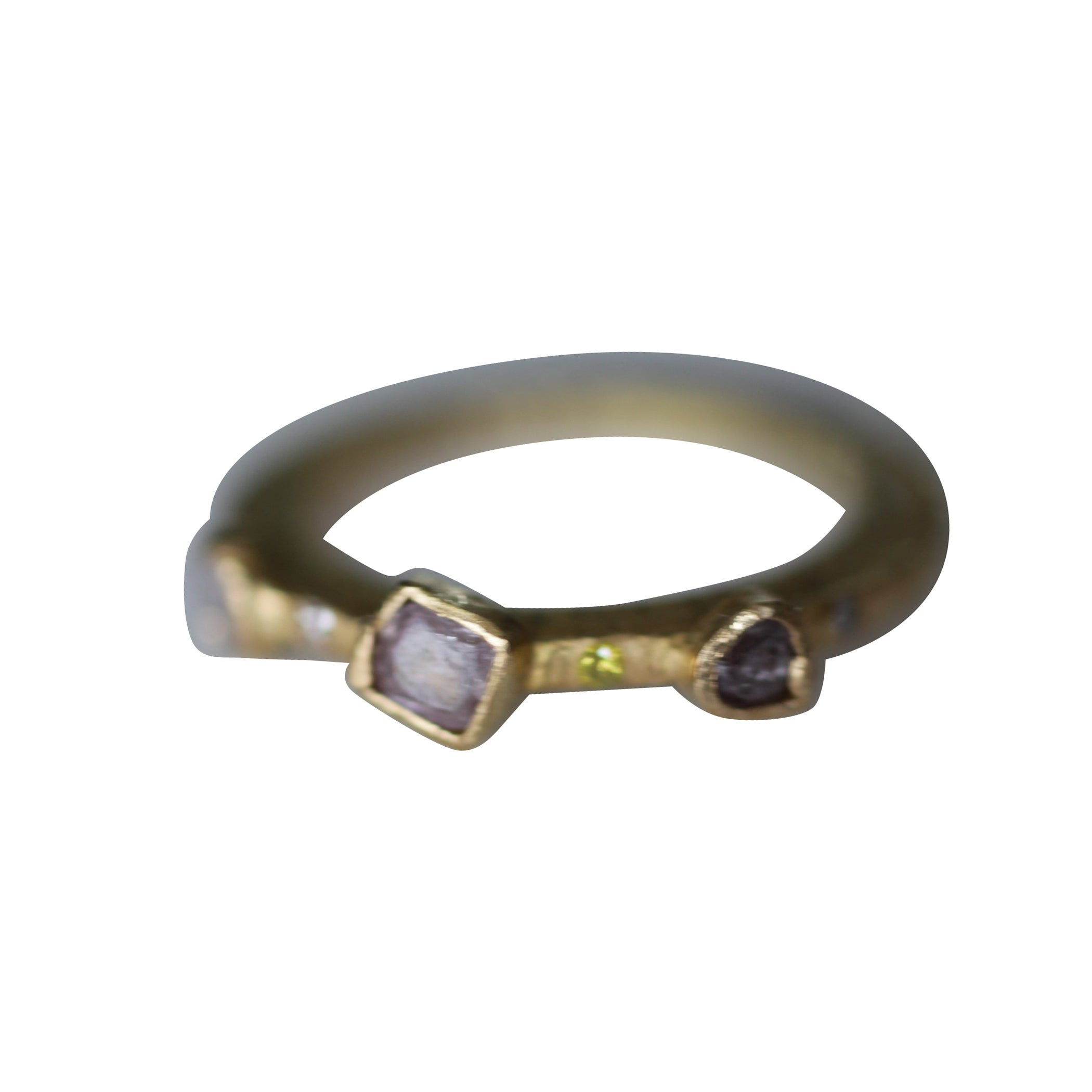 Color Diamond Tree-Stone Bezel Set in 22k Gold Engagement Bridal Ring Handmade