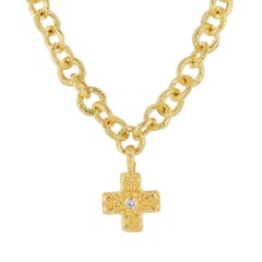 Katy Briscoe Yellow Gold Cross Pendant Necklace