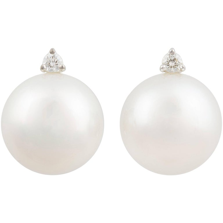 Ella Gafter White South Sea Pearl and Diamond White Gold Clip-On Earrings