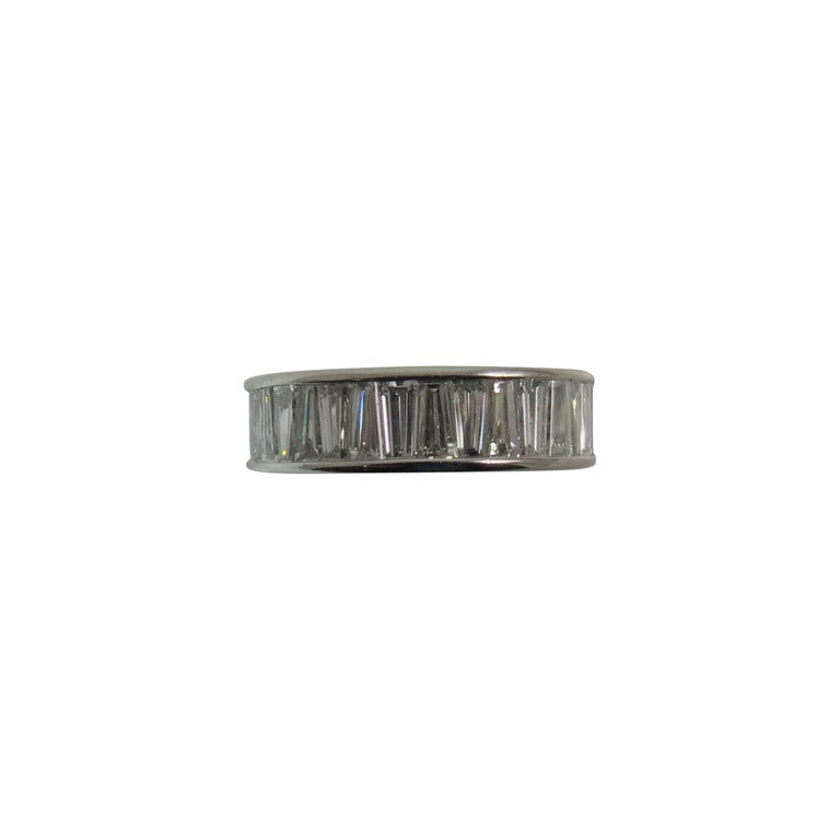 Platinum All Around Tapered Baguette Diamond Band Ring