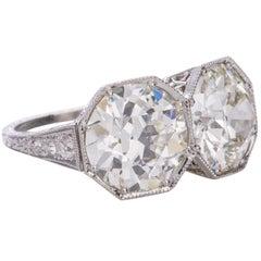 6.88 Carat Old European Brilliant Cut Diamond Edwardian Platinum Toi et Moi Ring