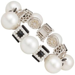 Ella Gafter White South Sea Pearl and Diamond Onyx White Gold Bracelet