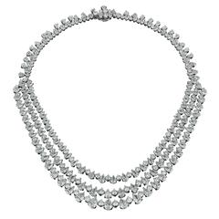 David Rosenberg 80 Carats Platinum Pear Shape 3-Row Diamond Drop Necklace