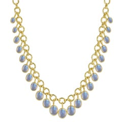 Elizabeth Locke Moonstone Cabochon Link Necklace