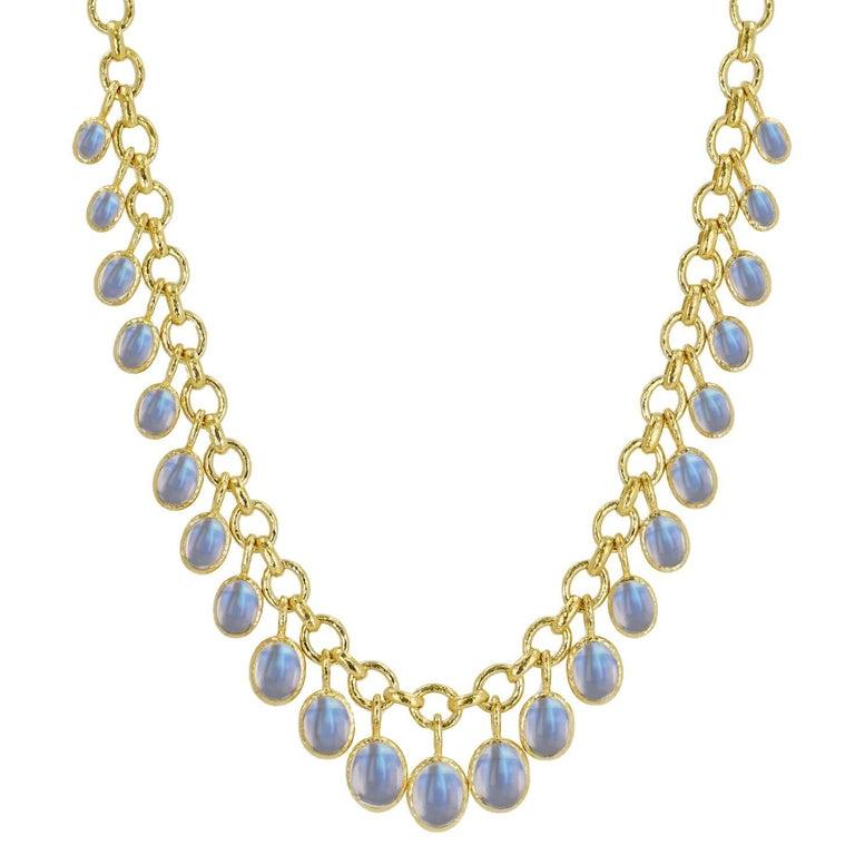 Elizabeth Locke Moonstone Cabochon Link Necklace