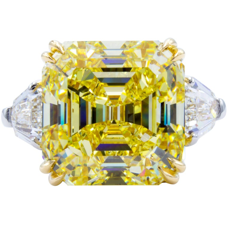 David Rosenberg 11.62 ct  Fancy Intense Yellow Emerald GIA Platinum Diamond Ring