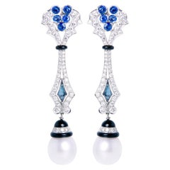 Ella Gafter Blue Sapphire and Diamond Earrings South Sea Pearl Onyx