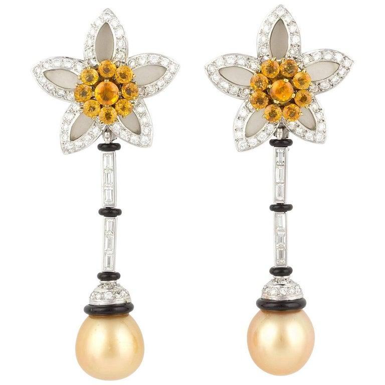 Ella Gafter Golden South Sea Pearl Sapphire Diamond Onyx Flower Drop Earrings