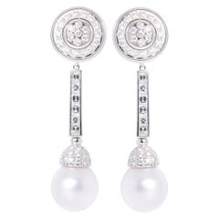 Ella Gafter White South Sea Pearl and Diamond Long Drop Flower Earrings