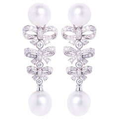 Ella Gafter South Sea Pearl and Diamond Bow Design Drop Earrings