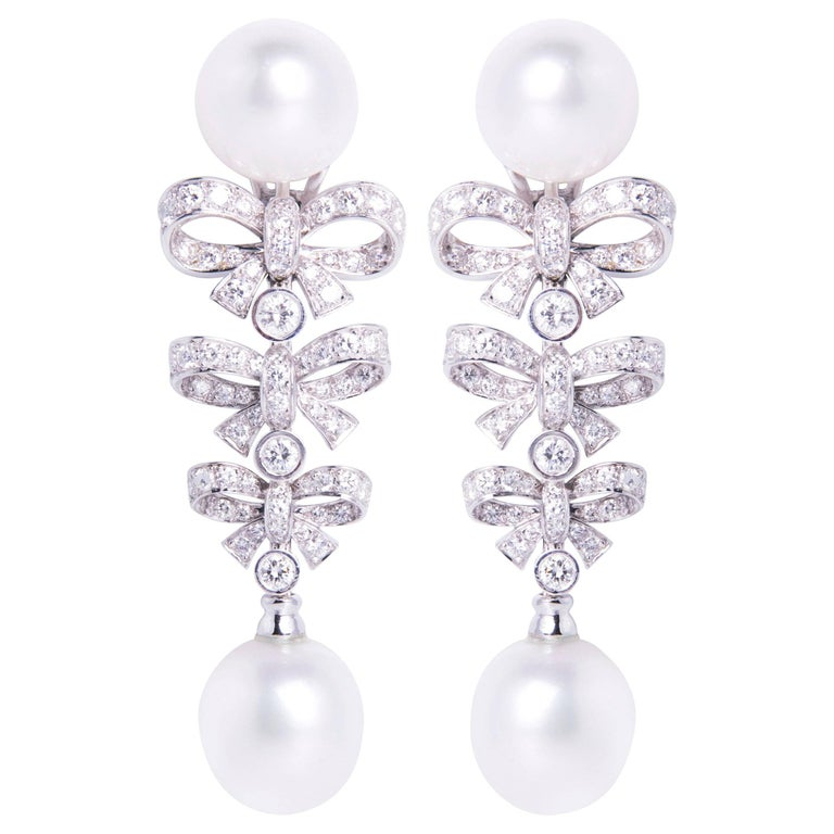 Ella Gafter South Sea Pearl And Diamond Bow Drop Earrings For