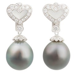 Ella Gafter Black Tahitian Pearl and Diamond White Gold Hanging Earrings
