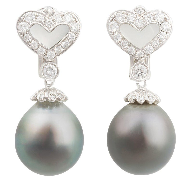 Ella Gafter Black Tahitian Pearl and Diamond Earrings