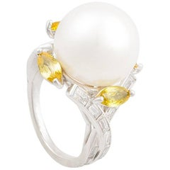 Ella Gafter South Sea Pearl Yellow Sapphire and Diamond White Gold Cocktail Ring