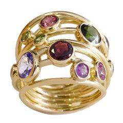 Coralie Van Caloen 18 Carat Yellow Gold Multi-Color Stones Band Ring