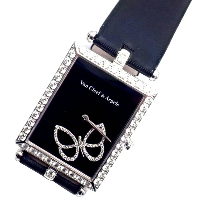 Van Cleef & Arpels Ladies White Gold Diamond Papillon Quartz Wristwatch For Sale