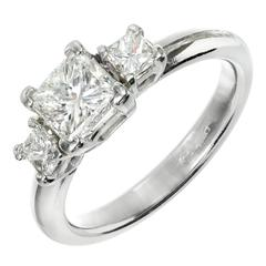 1.12 Carat Diamond Three-Stone Platinum Engagement Ring
