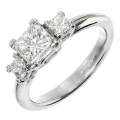 1.12 Carat Diamond Three-Stone Platinum Engagement Ring